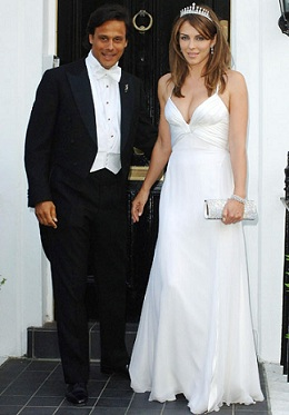 elizabeth hurley and arun nayar white tie and tiara