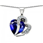 10.30 cttw 925 Sterling Silver 14K Gold Plated Created Heart Shape Sapphire Pendant