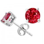 3.00 cttw 14k White gold AAA 7mm Round Lab Created Ruby Earring Stud in 14k White Gold