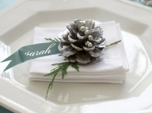 christmas place card holder with pine