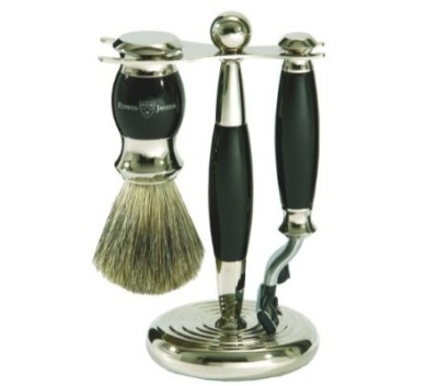 Edwin Jagger S81m356 Hand Assembled English Faux Ebony Three Piece Shaving Set Black