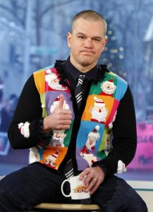 matt damon in christmas vest with snowman and santa