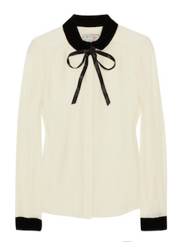 Aubin & Wills | Oakdene velvet and silk-crepe blouse | NET-A-PORTER.COM