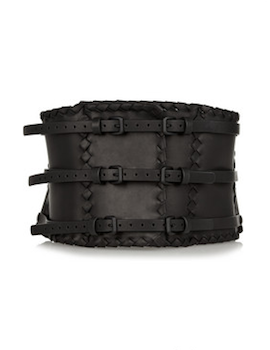 Bottega Veneta | Intrecciato-trimmed leather waist belt | Photo