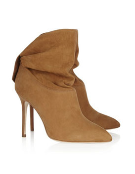 Brian Atwood | Adrienne ruched suede ankle boots | NET-A-PORTER.COM