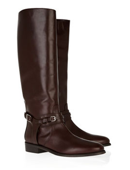 Burberry | Buckle-detailed leather knee boots | NET-A-PORTER.COM