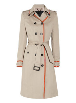 Burberry Prorsum | Leather-trimmed cotton-gabardine trench coat | NET-A-PORTER.COM