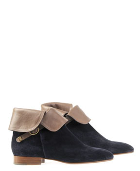 Chloe | Navy Velours Boot Crosta