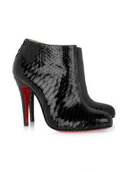 Christian Louboutin | Belle 100 glossed-python ankle boots | Image