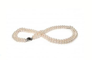 Double Row Freshwater Cultured Pearl Necklace Silver Clasp