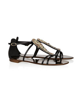 Giuseppe Zanotti | Crystal-embellished leather sandals | NET-A-PORTER.COM