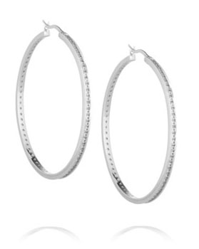 Kenneth Jay Lane | Rhodium-plated crystal hoop earrings | NET-A-PORTER.COM