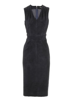Navy Blue Leather Dress Manta