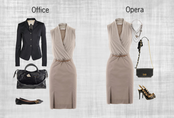 Taupe Dress Office and Opera / Looks Photo Example