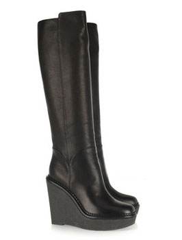 Yves Saint Laurent | Wedge leather knee boots | IMAGES