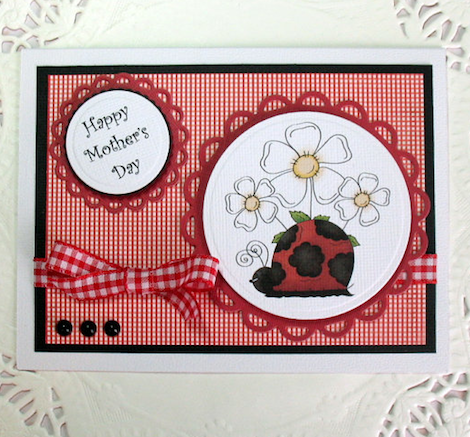 Ladybug with Daisies Red