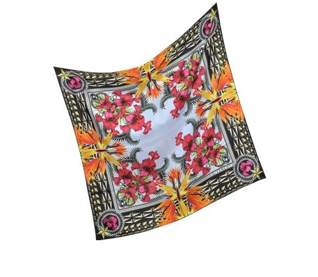 100% silk twill scarf with floral design