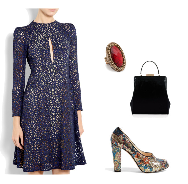 office christmas party 2012 carven lace fit and flare dress