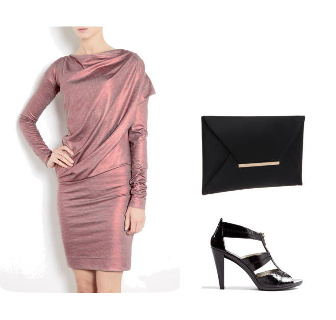 Office Christmas Party 2012 - Vivienne Westwood Anglomania Red Metallic Toga Drape Dress