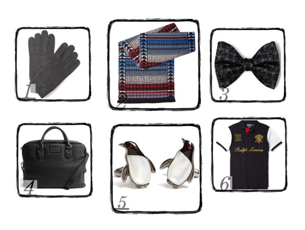 xmas gift ideas for men including bow tie t-shirt cuff links gloves scarf