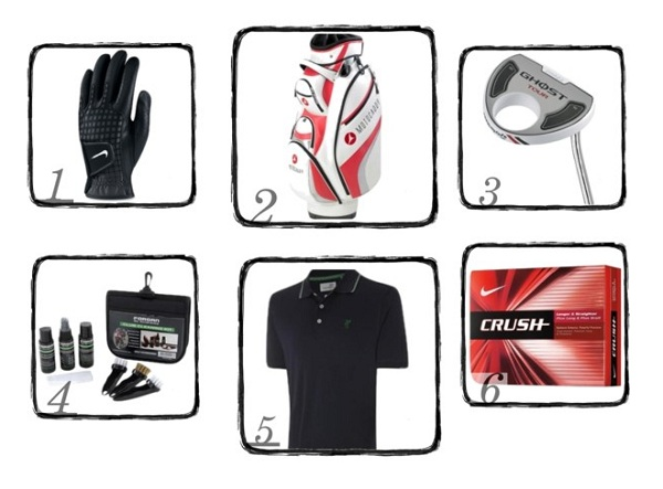 xmas gift ideas for men who play golf putter t-shirt gloves golf balls