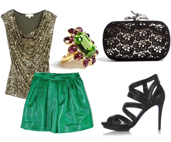 informal sparkly Christmas party outfit for women
